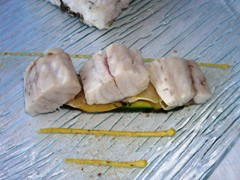 Sea bass on grilled salt