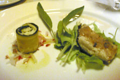 duet of rolled zucchini and trout