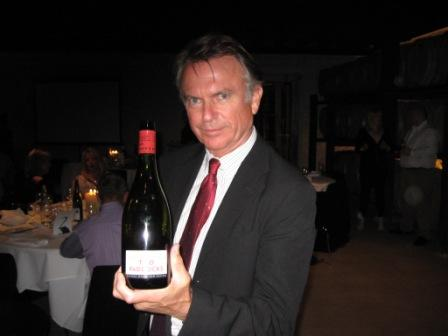 Sam Neill with Two Paddocks Pinot Noir